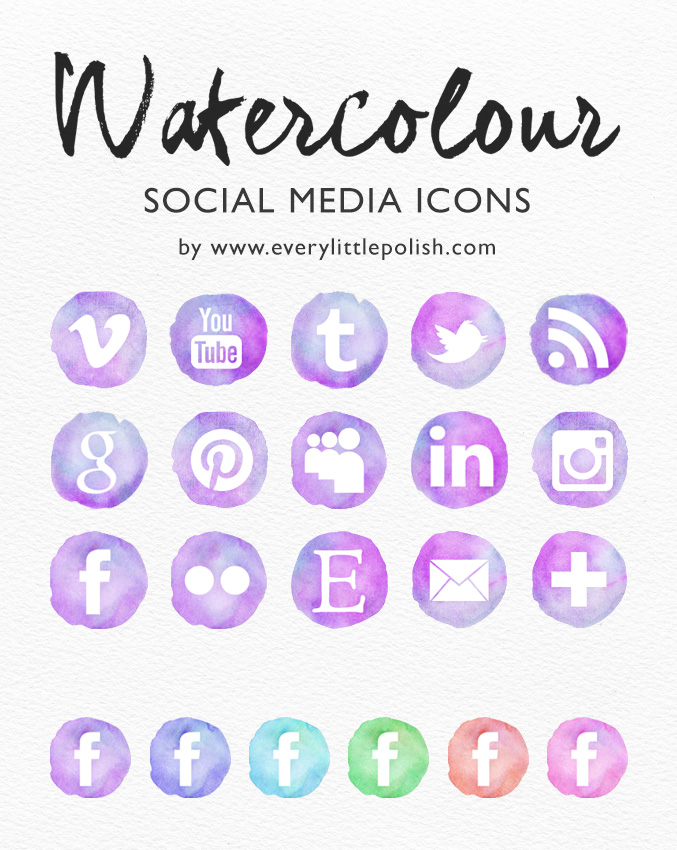 Watercolor Social Media Buttons